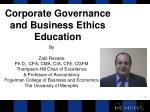 Corporate Governance and Business Ethics Education