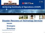 Achieving Continuity of Operations (COOP)
