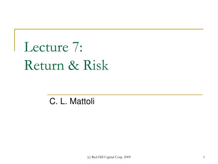 lecture 7 return risk n.