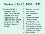Review of Unit 3: 1450 - 1750