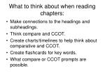 What to think about when reading chapters: