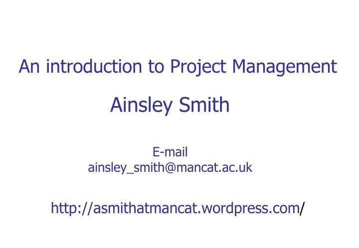 an introduction to project management n.