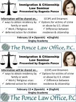 Immigration & Citizenship Law Seminar Presented by Eugenia Ponce