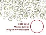 2009 -2010 Mission College Program Review Report