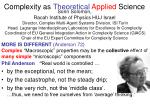 Complexity as  Theoretical Applied  Science