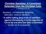 Christian Apostasy: A Conscious Defection from the Christian Faith 1 Timothy 6:3-10