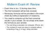 Midterm Exam #1 Review