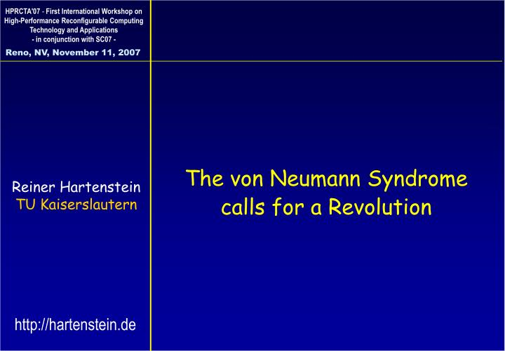 the von neumann syndrome calls for a revolution n.