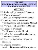 PSY 100Y5 PSYCHOLOGICAL DISORDERS LECTURE DR. KIRK R. BLANKSTEIN