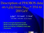 Description of PHOBOS data on v 2 ( h ) from s NN = 19.6 to 200 GeV