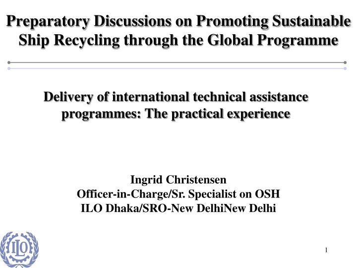 preparatory discussions on promoting sustainable ship recycling through the global programme n.