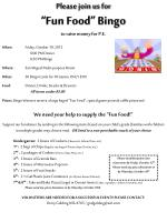 """Please join us for """"Fun Food"""" Bingo to raise money for P.E."""
