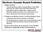 Hardware Dynamic Branch Prediction