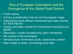 Rise of European Colonialism and the Emergence of the Global Food System