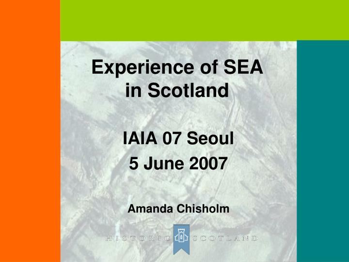 experience of sea in scotland n.