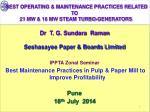 BEST OPERATING & MAINTENANCE PRACTICES RELATED TO    21 MW & 16 MW STEAM TURBO-GENERATORS