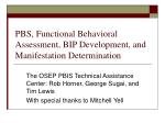 PBS, Functional Behavioral Assessment, BIP Development, and Manifestation Determination