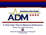 "A ""One A Day"" Plan for Maximum Performance Charlene Colon, Clinical Data Analyst"