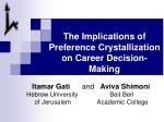 The Implications of  Preference Crystallization on Career Decision-Making