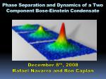 Phase Separation and Dynamics of a Two Component Bose-Einstein Condensate