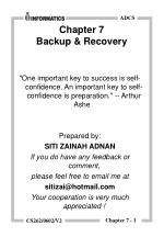 Chapter 7 Backup & Recovery