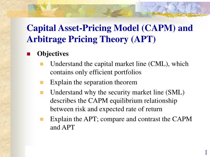capital asset pricing model capm and arbitrage pricing theory apt n.