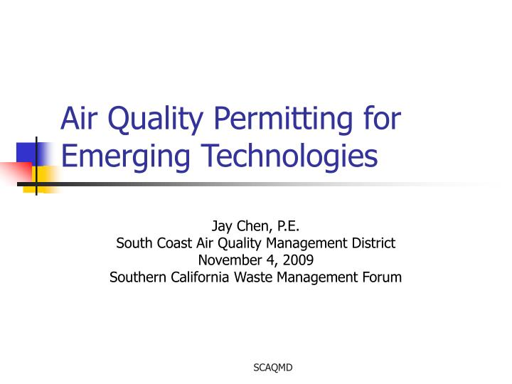 air quality permitting for emerging technologies n.