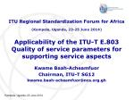 Applicability of the ITU-T E.803 Quality of service parameters for supporting service aspects