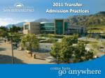 2011 Transfer Admission Practices