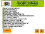 RDU/WAREHOUSE DIVISION COMPUTER BASED TRAINING REACHING SALES TARGETS WITH TEAMWORK