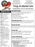 Yong-In Martial Arts  September 2014 Newsletter