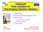 Multianode Photo Multipliers for Ring Imaging Cherenkov Detectors