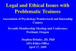 Legal and Ethical Issues with Problematic Trainees