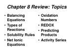 Chapter 8 Review: Topics