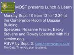 MOST presents Lunch & Learn