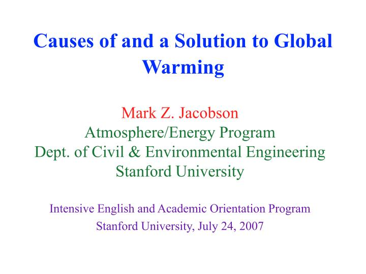 causes of and a solution to global warming n.