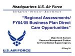 """Regional Assessments/ FY04/05 Business Plan Direct Care Opportunities"""