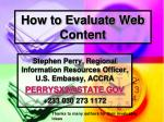 How to Evaluate Web Content