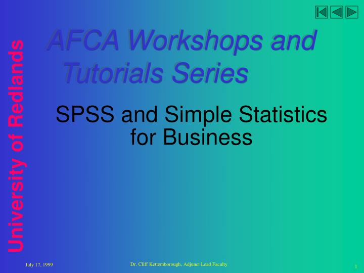 PPT - SPSS and Simple Statistics for Business PowerPoint