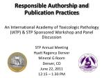 Responsible Authorship and Publication Practices