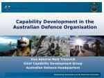 Capability Development in the Australian Defence Organisation