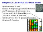 Integrate 2: Last week's take home lessons