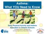 Asthma:  What YOU Need to Know