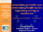 Conference of EUREGHA 'Addressing health inequalities in the regions of Europe' Bruxelles