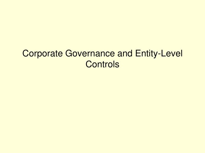 corporate governance and entity level controls n.