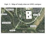 Expt. 1: Map of study sites on UHCL campus