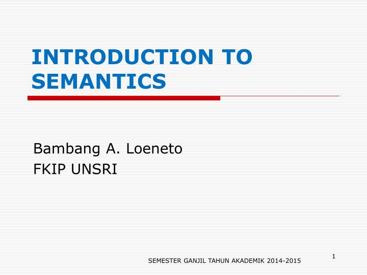 introduction to semantics n.