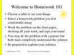 Welcome to Homework 101