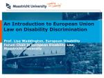 An Introduction to European Union  Law on Disability Discrimination