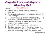Magnetic Field and Magnetic Shielding R&D